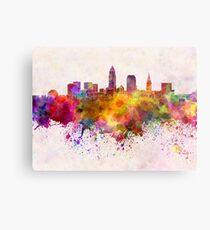 Cleveland-Skyline im Aquarellhintergrund Metalldruck