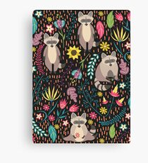 Raccoons bright pattern Canvas Print