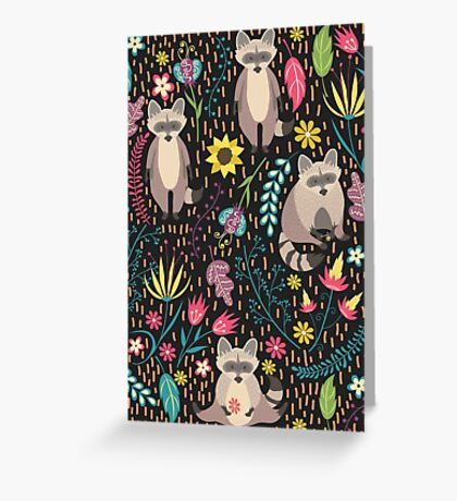 Raccoons bright pattern Greeting Card
