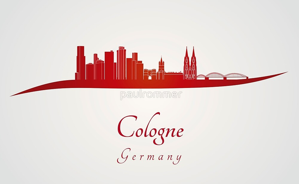 Cologne skyline in red by paulrommer