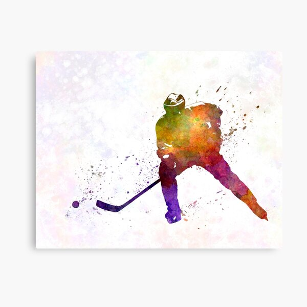 Hockey skater in watercolor Canvas Print