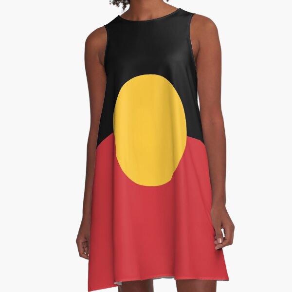 Australian Aboriginal Flag #9 A-Line Dress