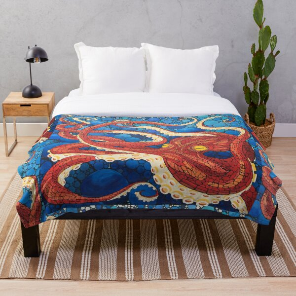 Big Red Squid Throw Blanket