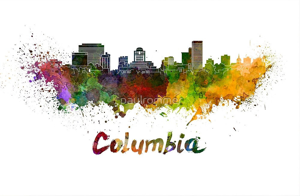 Columbia skyline in watercolor by paulrommer