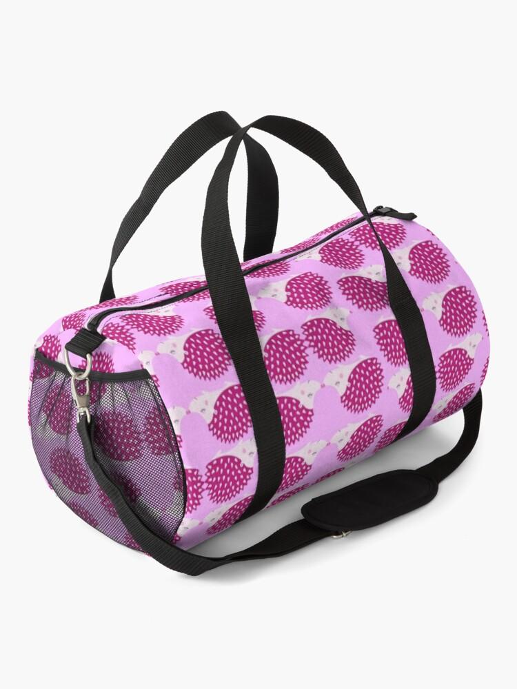 Alternate view of Hedgehog cute pink Pattern pink and deep pink. Duffle Bag