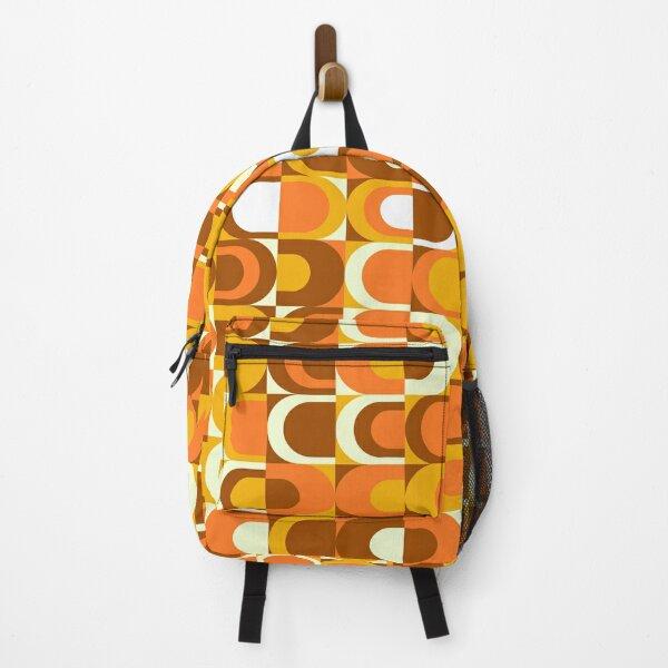 Orange Retro Industrial 70s pattern Backpack