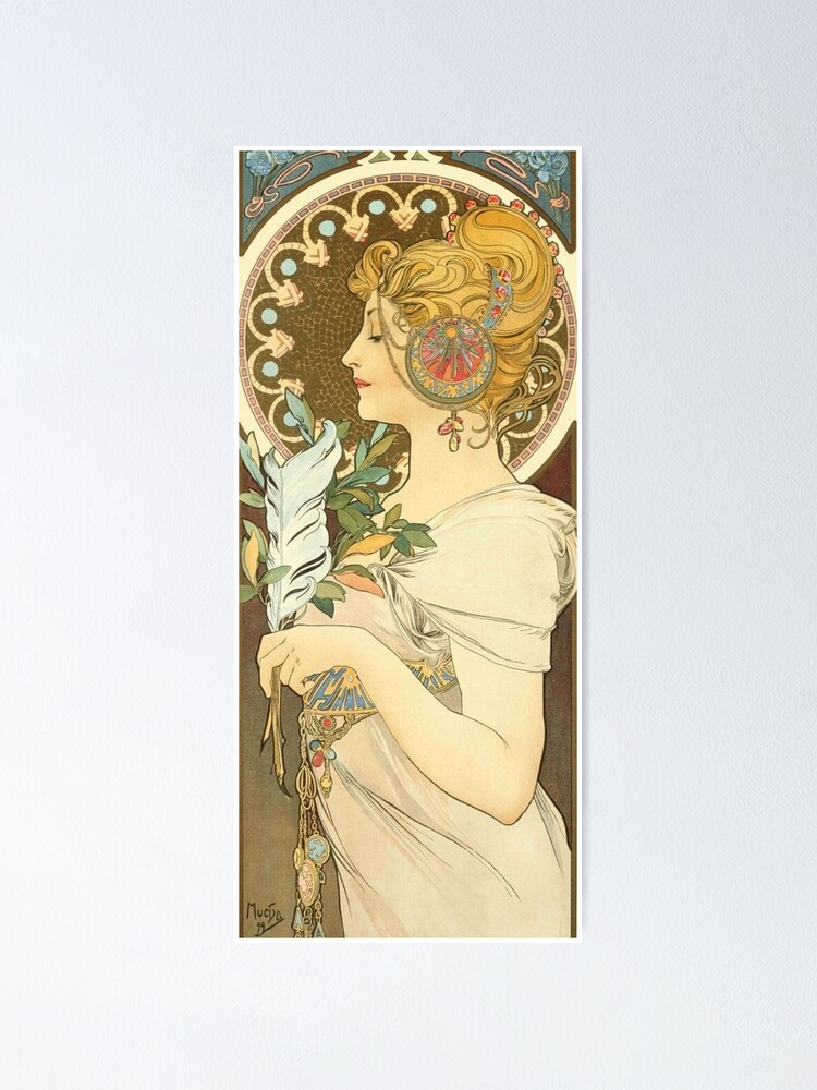Alternate view of Feather by Alphonse Mucha, 1899 Poster