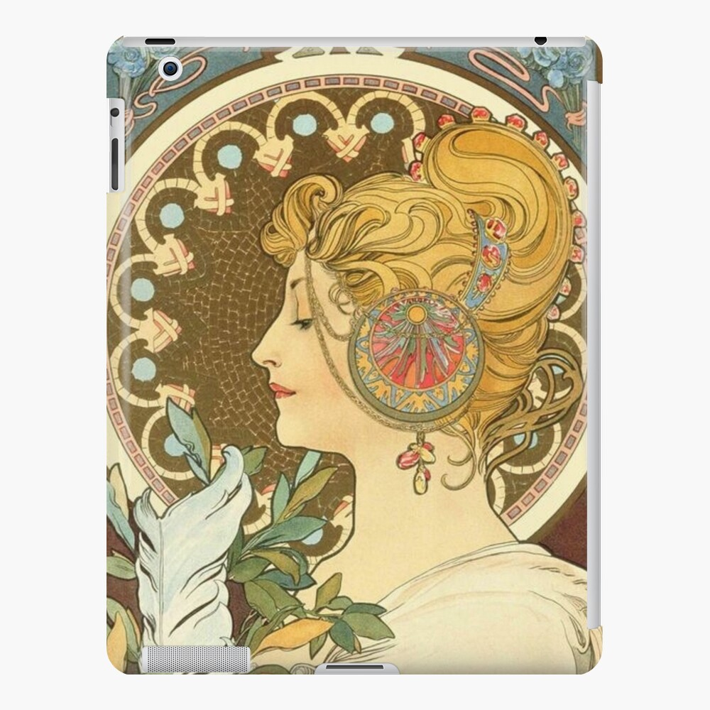 Feather by Alphonse Mucha, 1899 iPad Case & Skin
