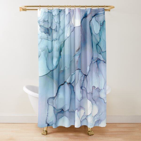 Periwinkle River: Original Abstract Alchool Ink Painting Shower Curtain