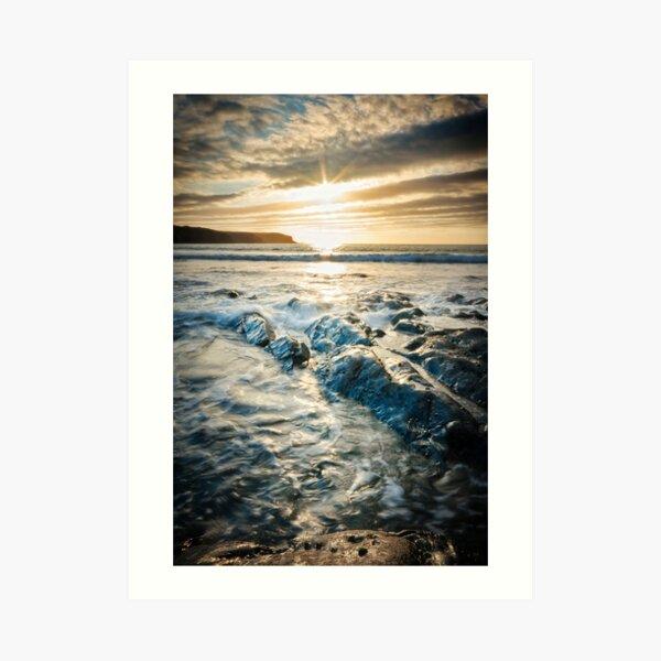 Sunset, sea and rocks at Abereiddy Art Print