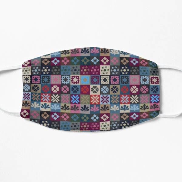 Checkered Patchwork Tile Pattern  Flat Mask