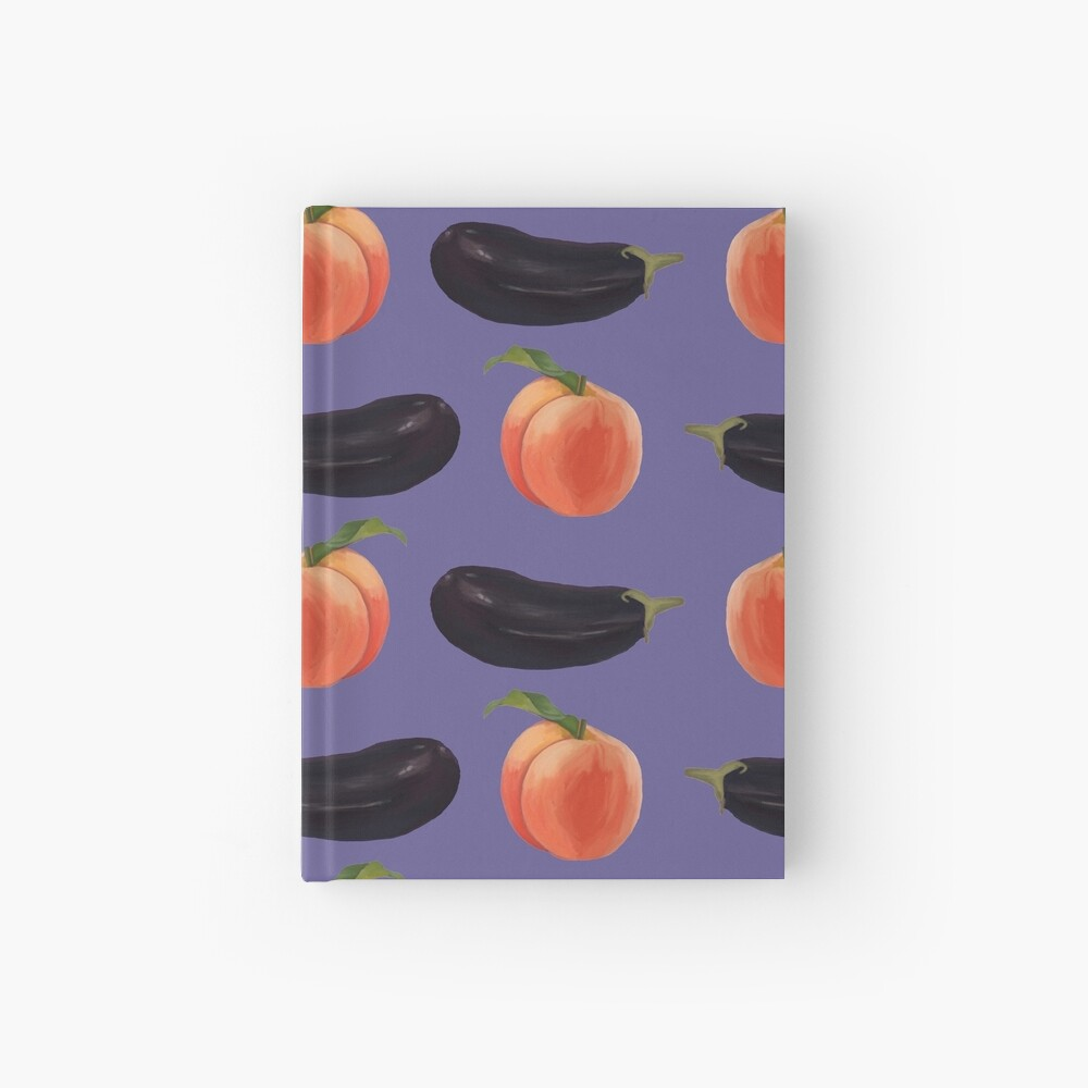 peaches and eggplants Hardcover Journal