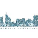 Memphis, Tennessee-Skyline-Weinlese-Blau von theshirtshops