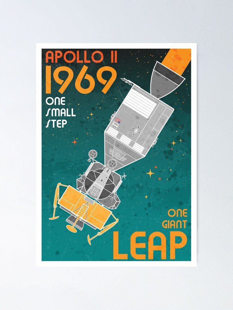 Alternate view of Apollo 11-One Giant Leap Retro Poster