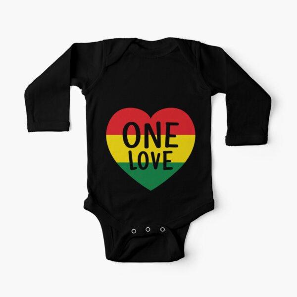Rasta Reggae Music One Love Heart Rastafarian Long Sleeve Baby One-Piece