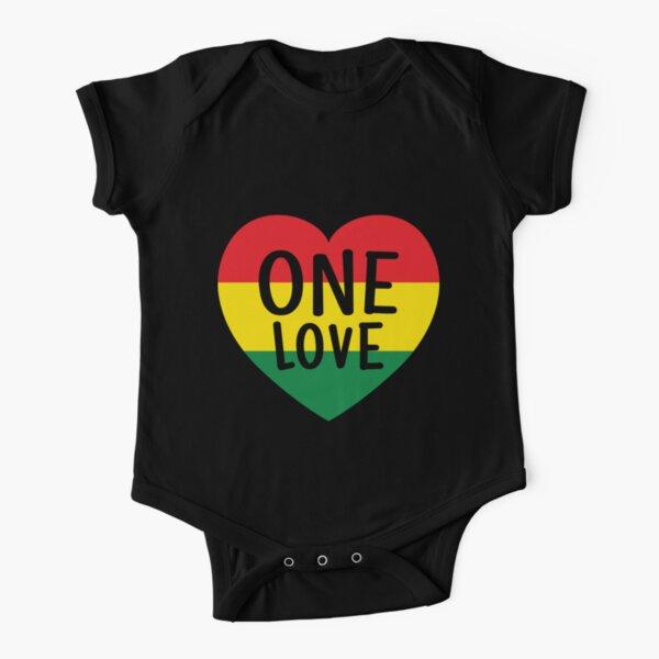 Rasta Reggae Music One Love Heart Rastafarian Short Sleeve Baby One-Piece