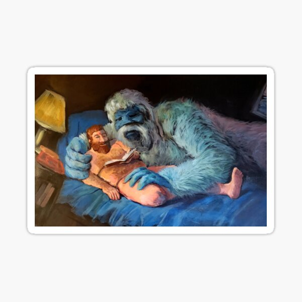 Yukon and Bumble in Bed, Reading Sticker