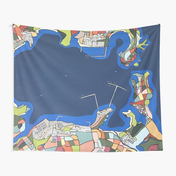 A port in Italy - arial view Tapestry