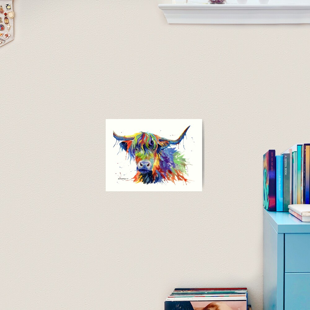 Multicolour Highland Cow Art Print