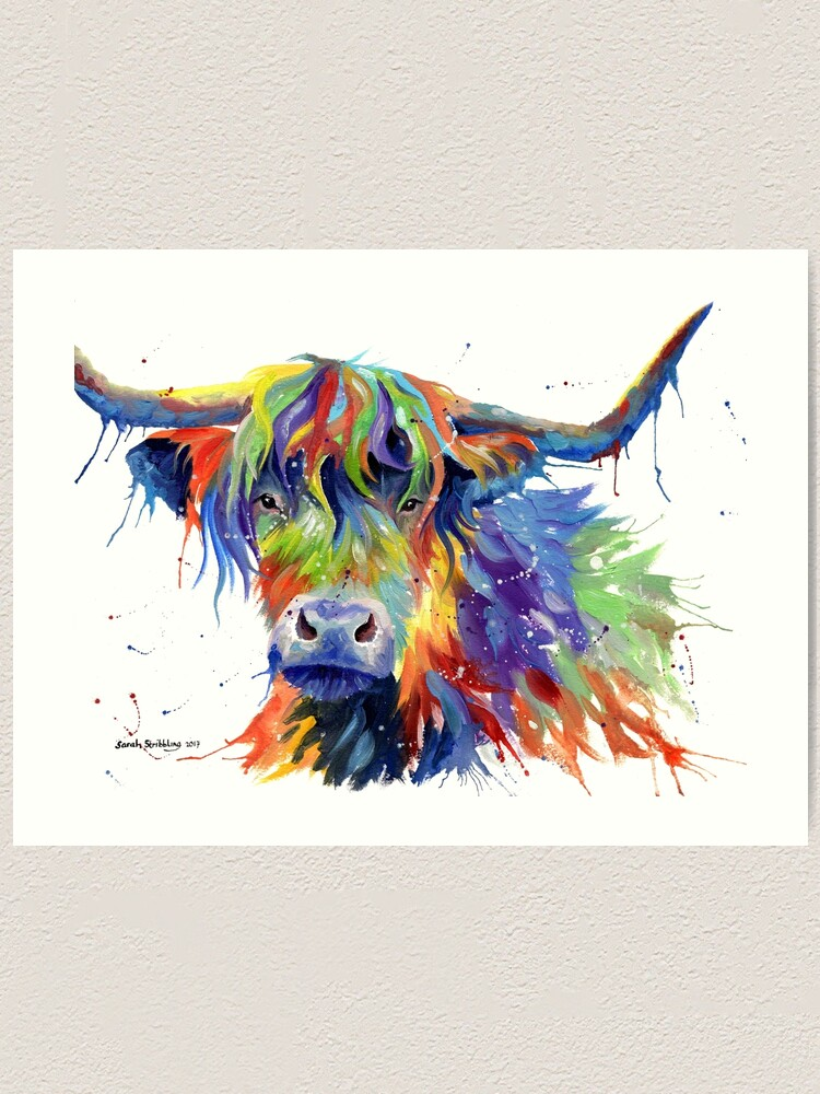 Alternate view of Multicolour Highland Cow Art Print