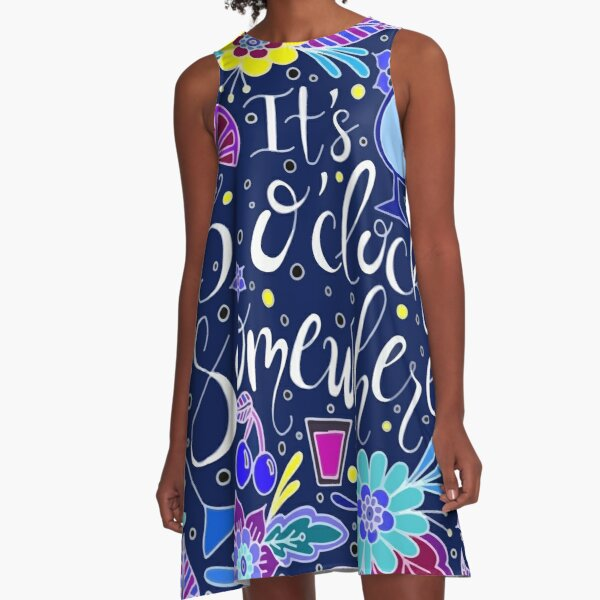 It's 5 O'Clock Somewhere || Dark Palette || Happy Hour A-Line Dress