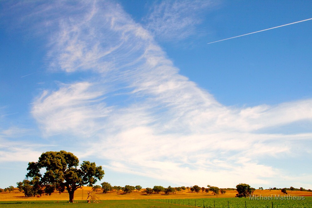 Autumnal Jet Trails & Clouds .. Coona bound by Michael Matthews
