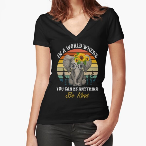 Elephant Sunflower Make America Kind Again T-Shirt Funny Us Independence Day T-Shirt
