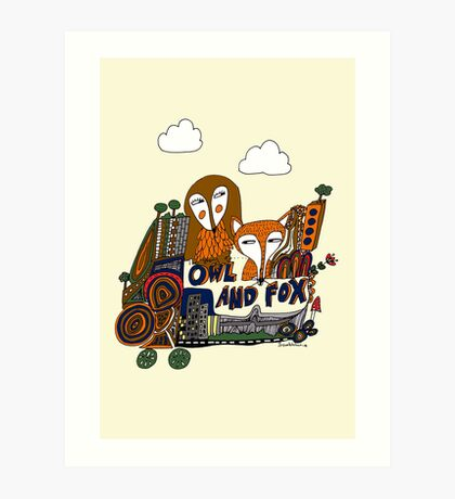 the story of owl and fox Art Print