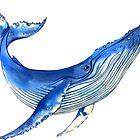 Watercolor whale by Evgeniia Zagreeva