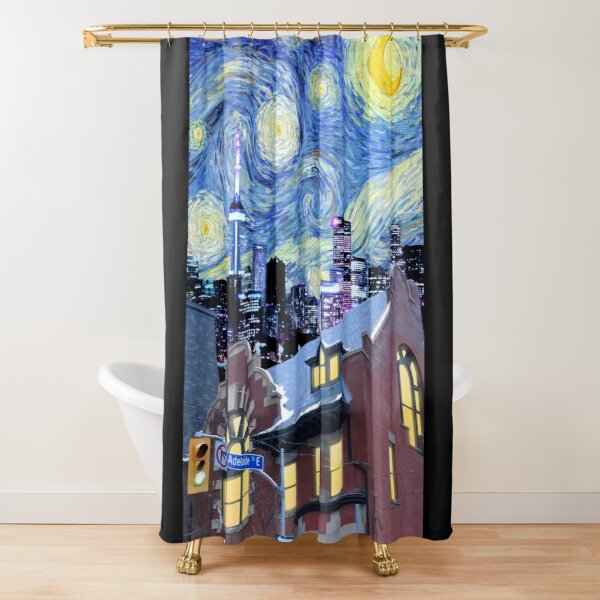 Starry Night Toronto - Van Gogh Skyline Illustration Shower Curtain