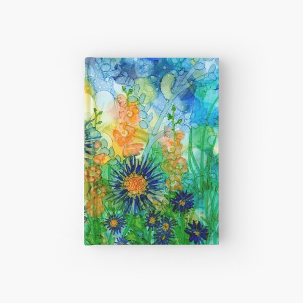 Hollyhocks & Blue, spires and daisies Hardcover Journal