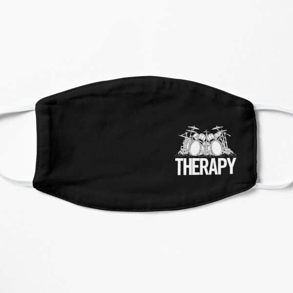 Drummers Therapy Drum Set Cartoon Illustration Flat Mask