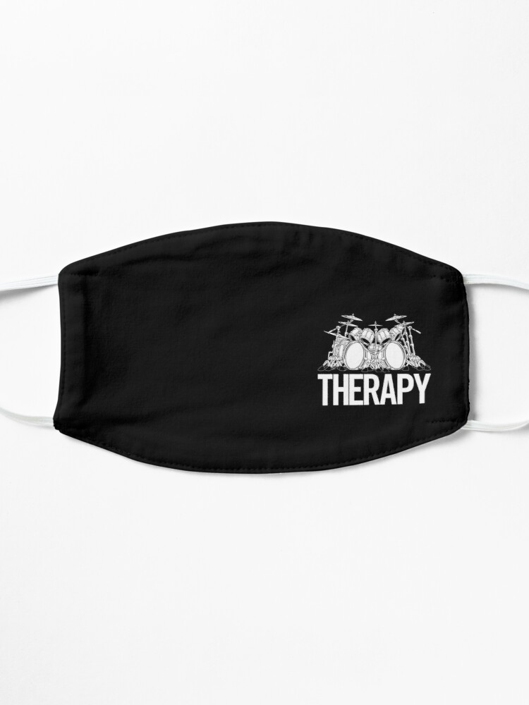 Alternate view of Drummers Therapy Drum Set Cartoon Illustration Mask
