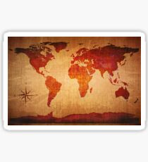 World Map Grunge Styled Sticker