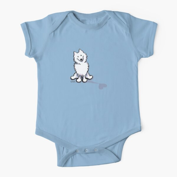 Samoyed Love Shadow Short Sleeve Baby One-Piece