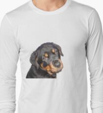 Female Rottweiler Puppy Making Eye Contact Vector Isolated Long Sleeve T-Shirt