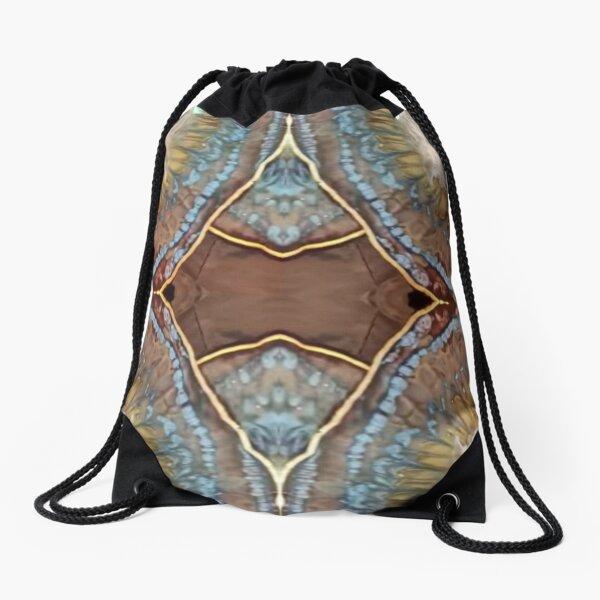 Retro cowboy print pattern blue earth natural  Drawstring Bag
