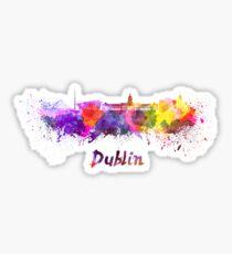 Dublin skyline in watercolor Sticker