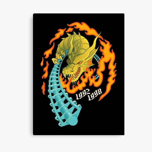 UP IN FLAMES Drachen Fire Roller Coaster - Busch Gardens Williamsburg - Theme Park Tribute Canvas Print