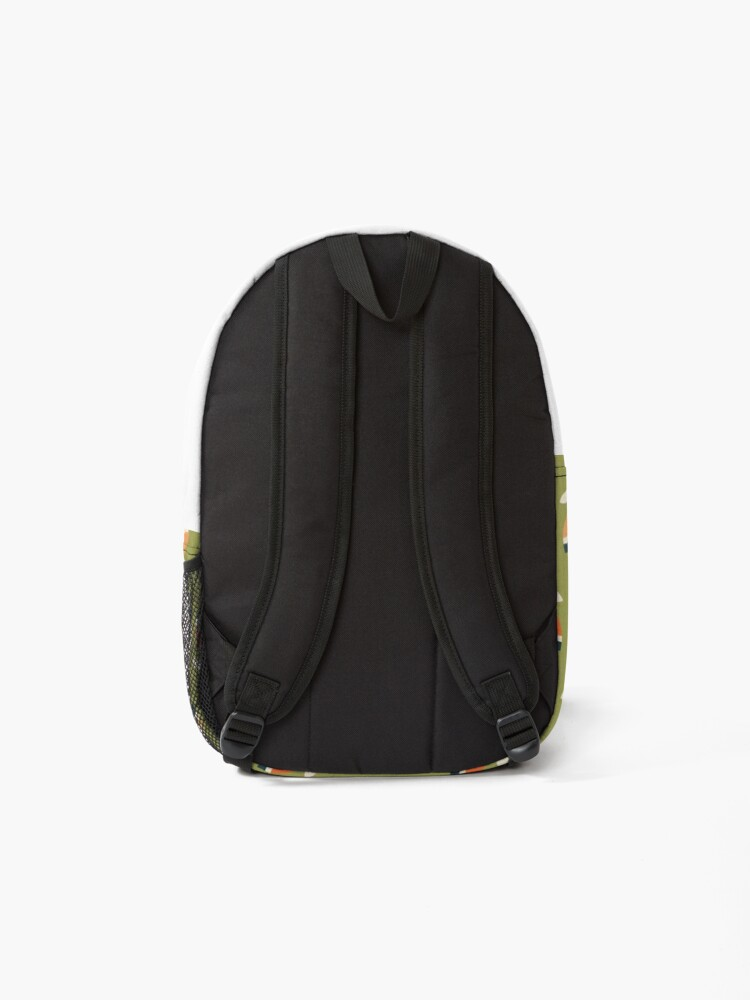 Alternate view of Retro Tulip - Orange and Olive Green Backpack
