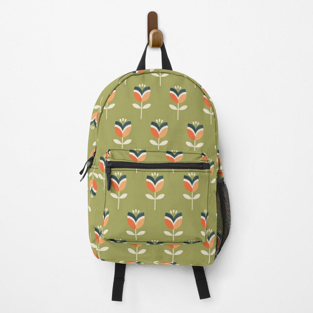 Retro Tulip - Orange and Olive Green Backpack