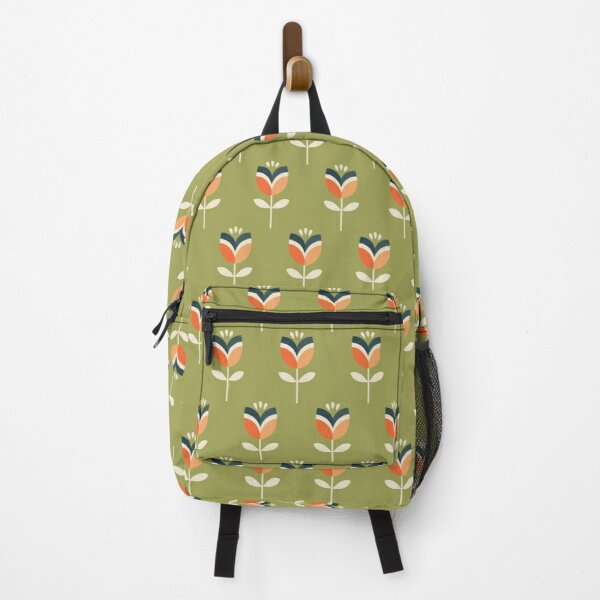 Retro Tulip - Orange and Olive Green Backpack