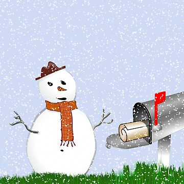 Holiday greetings Christmas card Season's greetings with snowman by cmhall