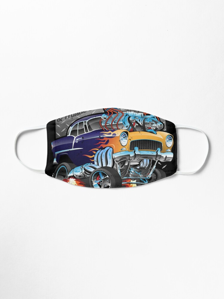 Alternate view of Speed Shop Hot Rod Muscle Car Parts and Service Vintage Cartoon Illustration Mask