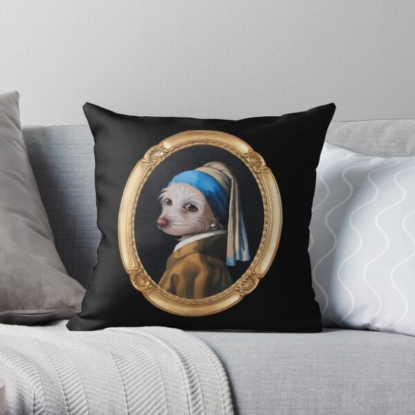 The Dog With the Pearl Earring (Gold Frame) Throw Pillow