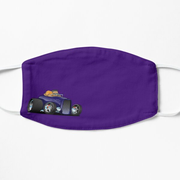 Highboy hot rod deep purple roadster with driver and cute passenger Mask