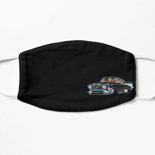 Classic hot rod fifties muscle car with cool couple cartoon Mask