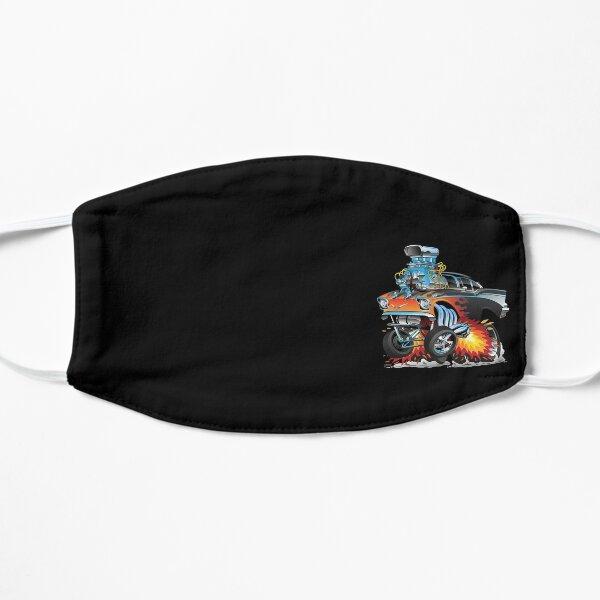 Classic hot rod 57 gasser drag racing muscle car cartoon Flat Mask