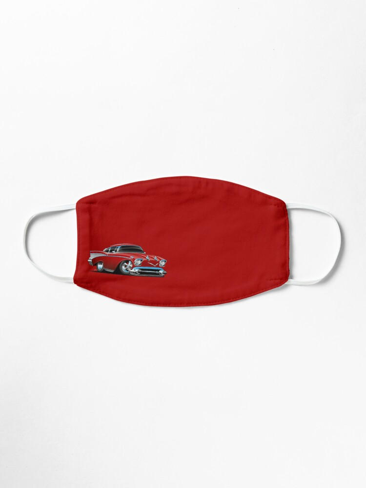Alternate view of Classic hot rod 57 muscle car, low profile, big tires and rims, candy apple red cartoon Mask