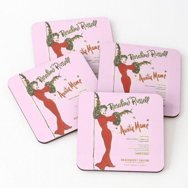 Auntie Mame, Rosalind Russell playbill Coasters (Set of 4)